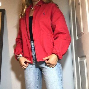 Red vintage zip up Ralph Lauren jacket